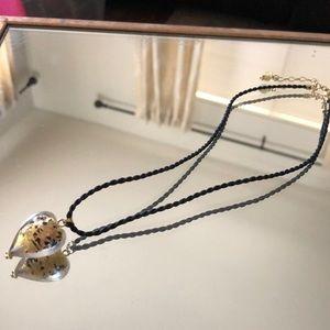 14 karat gold glass heart necklace